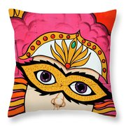 Carnival Mask Palm Springs Throw Pillow
