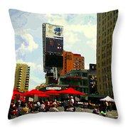 Sidewalk Cafe Lunch Break Red Umbrellas Yonge Dundas Square Toronto Cityscene C Spandau Canadian Art Throw Pillow