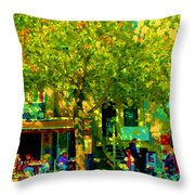 Sidewalk Cafe Rue St Denis Dappled Sunlight Shade Trees Joys Of Montreal City Scene  Carole Spandau Throw Pillow