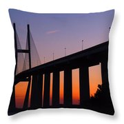 Sidney Lanier Bridge At Sunset Throw Pillow