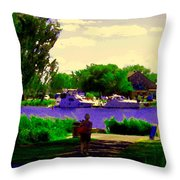 Sights Along The Harbor Late Day Stroll Lachine Canal Bike Path Montreal Scenes Carole Spandau Throw Pillow