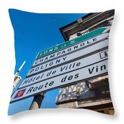 Sign For The Route Des Vins, Arbois Throw Pillow