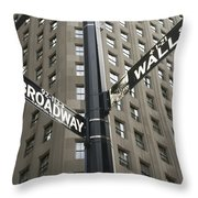 Signs For Broadway And Wall Street Throw Pillow