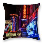 Signs Of Music Row Nashville Throw Pillow
