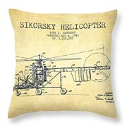 Sikorsky Helicopter Patent Drawing From 1943-vintgae Throw Pillow