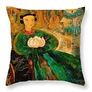 Silent Lotus Throw Pillow