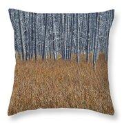 Silent Sentinels Of Autumn Grasses Throw Pillow