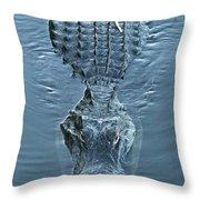 Submerged Alligator Approach Throw Pillow