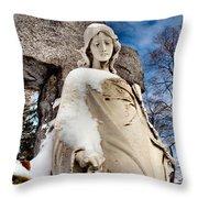 Silent Winter Angel Throw Pillow