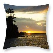 Siletz Bay Sunset Oregon 1 Throw Pillow