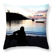 Silhouette At Sunrise Throw Pillow