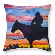 Silhouette Cowboy Throw Pillow