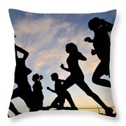 Silhouette Female Runners Throw Pillow