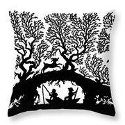Silhouette Fishing Throw Pillow