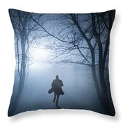 Silhouette Man Running In Foggy Woodland Throw Pillow