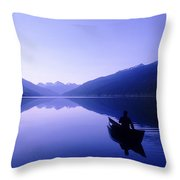Silhouette Of A Canoeist At Sunrise Throw Pillow