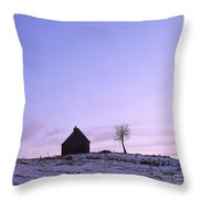 Silhouette Of A Farm And A Tree. Cezallier. Auvergne. France Throw Pillow