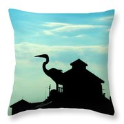 Silhouette Of A Heron Throw Pillow