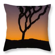 Silhouette Of A Joshua Tree At Sunset Throw Pillow