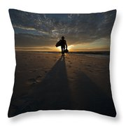 Silhouette Of A Man Wearing Hat And The Bag In Hand Walking On The Seashore Throw Pillow