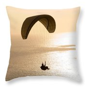 Silhouette Of A Paraglider Flying Throw Pillow