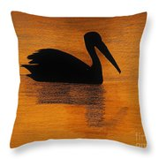 Silhouette Of A Pelican Throw Pillow