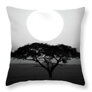 Silhouette Of A Tree At Sunrise Throw Pillow