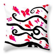 Silhouette Of A Woman With Pink Butterflies Throw Pillow