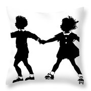 Silhouette Of Children Rollerskating Throw Pillow