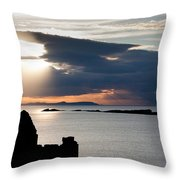 Silhouette Of Dunluce Castle Throw Pillow