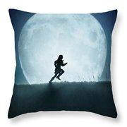 Silhouette Of Girl Running Against Full Moon Throw Pillow
