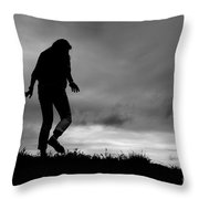 Silhouette Of Girl Walking Throw Pillow