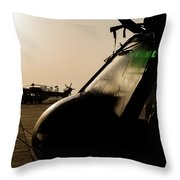 Silhouette Of Hellenic Air Force Search Throw Pillow