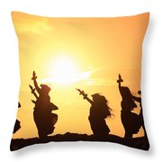 Silhouette Of Hula Dancers At Sunrise Throw Pillow