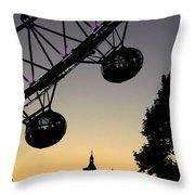 Silhouette Of London Eye Throw Pillow