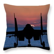 Silhouette Of Military Attack Aircraft Against Vibrant Sunset Sk Throw Pillow