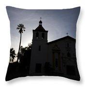 Silhouette Of Mission Santa Clara Throw Pillow