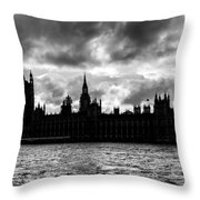 Silhouette Of  Palace Of Westminster And The Big Ben Throw Pillow by Semmick Photo