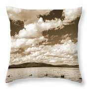 Silhouette Of People Standing In Lake Throw Pillow
