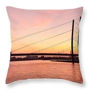 Silhouette Of Rheinturm Tower Throw Pillow