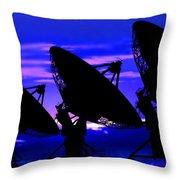 Silhouette Of Satellite Dishes Throw Pillow
