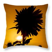 Silhouette Of The Sunflower Throw Pillow