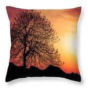 Silhouette Of Tree Throw Pillow