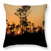 Silhouette Of Trees At Sunset Throw Pillow