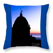 Silhouette Of Vernazza Duomo Dome Throw Pillow