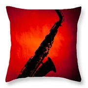 Silhouette Photograph Of An Alto Saxophone 3357.02 Throw Pillow