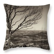 Silhouetted Above A Flat Earth Throw Pillow