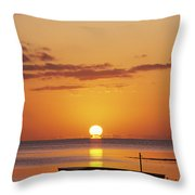 Silhouetted Boat Throw Pillow