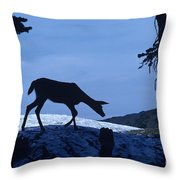 Silhouetted Deer Throw Pillow