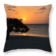 Silhouetted Divi Divi Tree Throw Pillow